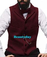 homens de colete de moda marrom venda por atacado-2019 Moda Colete De Lã Do Noivo Colheita Do Casamento Do Vintage Brown Tweed slim fit Personalizado Homens Vestidos de Festa Groomsman Vest Prom 9 Cores