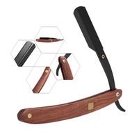 berber bıçağı tıraşı toptan satış-Paslanmaz Çelik Düz Kenar Jilet Katlama Tıraş Bıçağı Kuaför Razor Ahşap Yüz Saç Kaş Sakal Tıraş Tıraş Aracı Kulp