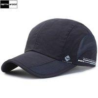 hızlı kurulama kapağı toptan satış-[NORTHWOOD] Yeni Katı Hızlı Kuruyan Yaz Kap Erkek Beyzbol Şapkası Kadın Örgü Şapka Snapback Casquette Homme Nefes Açık Şapkalar