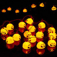 ingrosso lanterne di natale a batteria-Funzionamenti a batteria 2.7m 16 led 3D Pumpkin LED Fairy String Lights Halloween Christmas Holiday Garden Decoration Lights Lanterns Lights
