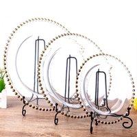 klare glasschalen großhandel-Glass Charger Plate mit Gold / Silber / Klar Perlen Rand 8, 10,5, 12,5 Zoll Round Dinner Service Tray für Hochzeitsfeier