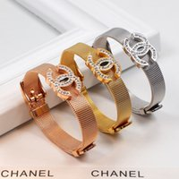 Wholesale flower bangle watches for sale - New arrival watch Belt Style bangle and logo with diamond for women L Stainless Steel Love bracelet mother and girl jewelry gift free