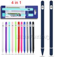 halter silikon tablette großhandel-Neue weiche silikon für apple pencils case für ipad bleistift abdeckung halter tablet touch pen stylus anti-lost 4 in 1 hohe qualität einfaches design