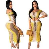 yeni moda net elbiseler toptan satış-Moda Yeni Slash Boyun Seksi Hollow Net 2 Parça Seksi Elbise Takım Elbise Yaz Yarım Kollu Kırpma Üst ve Püskül Elbise Setleri
