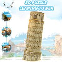 modelo de juguete molinos de viento al por mayor-Simulación 3D Torre Inclinada de Pisa Juguetes Rompecabezas para niños DIY Ensamblado hecho a mano Modelo de edificio kit Juguetes Educativos Regalo Decoración para el hogar