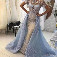Wholesale lace sheer straps v neck for sale - Group buy Light Sky Blue Lace Mermaid Illusion Bodices Evening Dresses Short Sleeves See Through Prom Gowns With Overskirts