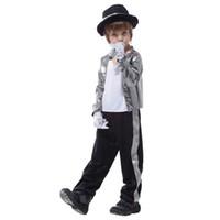 yıl boyu kostümü toptan satış-Çocuklar Boys Michael Jackson Cosplay Kostüm Noel Yılbaşı Purim Parti Cadılar Bayramı Performans Fantezi Elbise Tema Kostüm