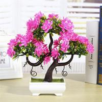 Wholesale artificial flowers bonsai resale online - flores artificiais para decora o Artificial Plants Emulate Bonsai Wedding Decorative Artificial Flowers Fake Pot Plants