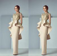 Wholesale peplum dress resale online - Champagne Arabic Evening Dresses Ruffles Sheer Bateau Neck Back Peplum Evening Gowns Sweep Train Formal Prom Dress ogstuff formal dress