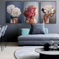 hochwertiger posterdruck großhandel-Große blume mode frau Hohe Qualität Gedruckt Leinwand Malerei Wandkunst Drucke Poster wohnzimmer dekor