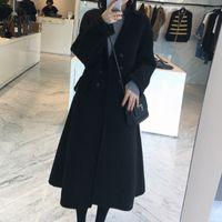 falda de lana coreana al por mayor-abrigo de tela mujer invierno versión coreana de autocultivo, falda de cintura, chaqueta de lana de doble cara mediana y larga