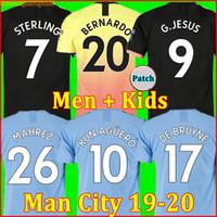 g g camisas al por mayor-19 20 camiseta de fútbol Manchester City HOMBRE 2019 2020 G. JESÚS MAHREZ DE BRUYNE KUN AGUERO chandal de fútbol MENDY MAN uniformes hombres + kit de niños de la soccer jersey