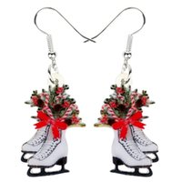 Wholesale skating charm for sale - Group buy Acrylic Christmas Skates Flower Decoration Earrings Drop Dangle Xmas New Year Gift Jewelry For Women Girls Charms Natal