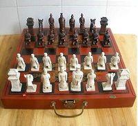 ingrosso decorazione cinese della scatola-YM 304 cinese di 32 pezzi di scacchi set / scatola / Xian Terracota Guerriero della decorazione del giardino di 100% reale d'argento tibetano