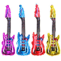 şişme gitarlar toptan satış-20 adet / grup Gitar Tasarım Karikatür Balon Şişme Helyum Balonlar Tezahürat Sopa Klaket Çocuk Clssit Oyuncaklar # RGXC346