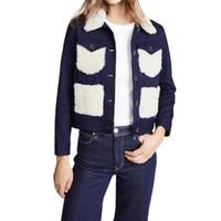 uzun batı ceketi toptan satış-İlkbahar sonbahar batı tarzı moda kontrast renk patchwork denim cep uzun kollu SM L XL XXL mavi kadın Rahat kısa ceket