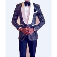 ingrosso gli uomini tuxedos dello sposo del costume-HB080 Custom Made Groomsmen Scialle Smoking bavero Smoking blu scuro Uomini Abiti da sposa Best Man (Jacket + Pants + Tie + Hankerchief)