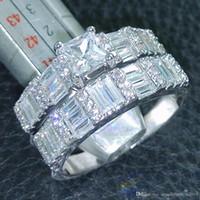 weiße steinschmucksachen großhandel-Art- und Weiseschmucksache-Prinzessin Cut Jewellery 5A Zirconstein 10KT weißes Gold füllte Hochzeits-Ring-gesetztes Geschenk Sz 5-10 Freies Verschiffen