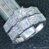 conjuntos de joyas de piedra blanca al por mayor-Joyería de moda Princesa Joyería de corte 5A Circón piedra 10KT Anillo de boda lleno de oro blanco Set Sz 5-10 regalo Envío gratis