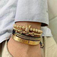 macrame armband cz großhandel-3 teile / satz Gold Luxus Cz Crown Charme Perlen Armband Stapel Handgemachte Makramee Männer Armbänder Armreifen Für Männer Schmuck Zubehör MX190718