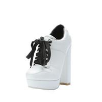 topuk spor ayakkabıları toptan satış-ZDONE Bayanlar Yeni Zarif Kalın Topuk Çizmeler Düğün Ayakkabı Dantel-up Spor tarzı Moda Elbise Akşam Patik Ayakkabı N063