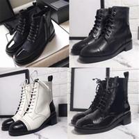 botines negros para mujer al por mayor-2019 Botas de mujer de moda con cordones Bota de piel de becerro de Martin Botines de Martin Zapatos de diseñador Botines de cuero de vaca negro Botines de tacón alto US10