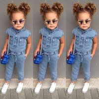 Wholesale jean jumpsuits clothing for sale - Group buy Summer Toddler Baby Girl Kids Sleeveless Bowknot Denim Romper Jumpsuit Clothes Baby Girl Jeans Sunsuit Overalls Rompers Playsuit Rated