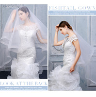 Wholesale new best selling veil for sale - Group buy New Designer Soft Tulle High Quality In Stock Best Selling Two Layer Ribbon Edge Wedding Veils White Ivory Champagne Knee Length Alloy Comb