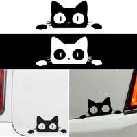 auto stoßfänger grafik großhandel-14CM * 6.2CM Überraschung Cat Spähen Lustige Vinylträger Graphics Aufkleber Aufkleber-Auto / LKW-Laptop Auto Dekoration Auto-Styling