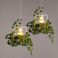 Wholesale office table lights resale online - Plant Wrought Iron Droplight Cafe Bar Garden Deco Hanging Lamp Restaurant Bar Table Plant Decorative Light