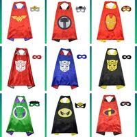 kinder superheld kostüme mädchen großhandel-70 * 70 cm Double Side Superhero Umhänge und Masken für Kinder Mädchen Jungen 28 Designs Kinder Cartoon Umhänge Cosplay Party Halloween Kostüme C71601
