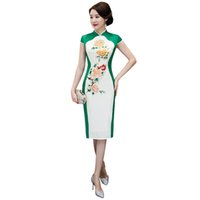 китайское платье ручной работы оптовых-Knee Length Print Chinese Style Handmade Button Dress Vintage Ladies Long Qipao Classic Stage Show Elegant Female Cheongsam