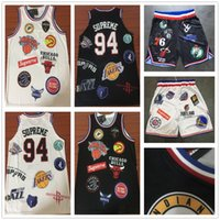 Wholesale black basketball jersey free shipping for sale - Group buy Stitched Sup ss Teams Jersey Sportswear Sup Black White Short T shirts Cheap Men Shorts Free Fast Shipping
