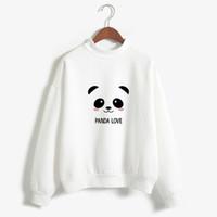 sweatshirt panda großhandel-Neue Hoody Frühling Herbst Langarm Kawaii Panda Gedruckt Harajuku Sweety Sweatshirt Frauen Queue Hoodies Moletom Feminino