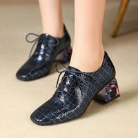 Wholesale qiu shoes for sale - Group buy Goddess2019 Shen Qiu Kou Single Shoe Woman Genuine Leather Coarse Embossing Sheepskin With Will Code Women s Shoes