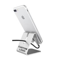 escritorios personalizados al por mayor-Personalización promocional Su propio logotipo Soporte de carga de soporte de escritorio de soporte de teléfono de aleación de aluminio de metal para teléfono móvil y tableta