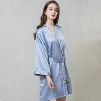 eis seide hochzeit großhandel-Pyjamas heißer Verkauf erhöhen Hochzeit silk Nachthemd weiblichen Sommer langärmeligen Kleid Robe Eis Seide Bademantel Hause Kleidung Großhandel
