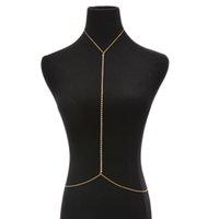 net kolye toptan satış-Moda Net Koşum Rhinestone Zincir Kolye Altın Renk Bel Zinciri Kadınlar Takı Seksi Bikini Metal Vücut Zinciri