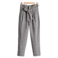 pajarita de houndstooth al por mayor-Mujeres Vintage Houndstooth Plaid Pantalones Bow Tie Blet caliente gruesa Chic Ladies moda Casual pantalones largos