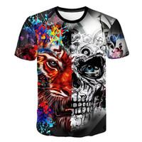 ingrosso dispositivo di raffreddamento del fiore della maglietta-2019 T-shirt uomo Fashion Voodoo Skull Design manica corta Casual Tops Hipster Flower Skull T-shirt stampata Cool Tee