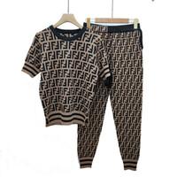 pantolon pantolonu toptan satış-Nokta Kalitesi Patlama Buz Kart Renk Kısa Kollu Kayış Yay Örgü Üst F Ayak Pantolon Set