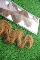 atkı insan saçı paketi toptan satış-Orta Kahverengi Renk Cilt Atkı Bandı Saç Uzantıları 10-30 Inç Malezya Vücut Dalga Saç Uzantıları% 100% İnsan Saç Dokuma 40 adet / paket / 100