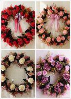 ingrosso fiori decorativi interni-Corona di fiori di rose artificiali - Corona di fiori finti decorativi da 17,7 pollici con foglie di rosa e verde per la parete interna della porta d'ingresso