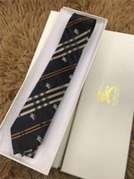 ingrosso legame azzurro semplice-Cravatta di seta cravatta firmata di alta qualità con scatola di imballaggio classica cravatta a quadri casual da uomo stretto tieith per il regalo MB85A
