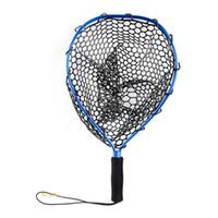 red de aluminio al por mayor-Aleación de aluminio Herramientas de pesca con mosca Portátil fuerte con cordón de repuesto Monofilamento Red de aterrizaje Malla de liberación de deportes al aire libre