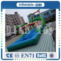 Wholesale toy water slides resale online - High Quality mm PVC Tarpaulin giant inflatable water slide with swimming pool large inflatable water toys for amusement