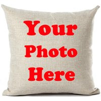 Wholesale custom cushion case resale online - Cushion Cover Custom Personalised Printed Pictures Pillow Case Home Decoration Throw Pillows Private Customized Dropshipping