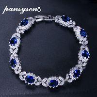 PANSYSEN Dark Blue Sapphire Women's Bracelets with Cubic Zirconia Diamond Stone 925 Sterling Silver Wedding Party Fine Jewelry CX200706
