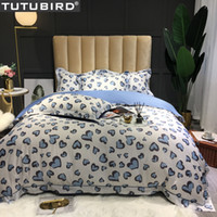 Wholesale princess bedding set king size for sale - Group buy Heart shaped Egyptian cotton bedding set blue lovely princess duvet cover satin bedspread queen king size bed set for new year
