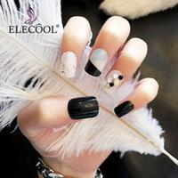 leimspitzen für nägel großhandel-ELECOOL 24pcs Short Fake Nails Kleber auf falsche Nagelspitzen Nail ArtRed Falsche Nagelspitzen Acryl Faux Ongles Couleur Japanese